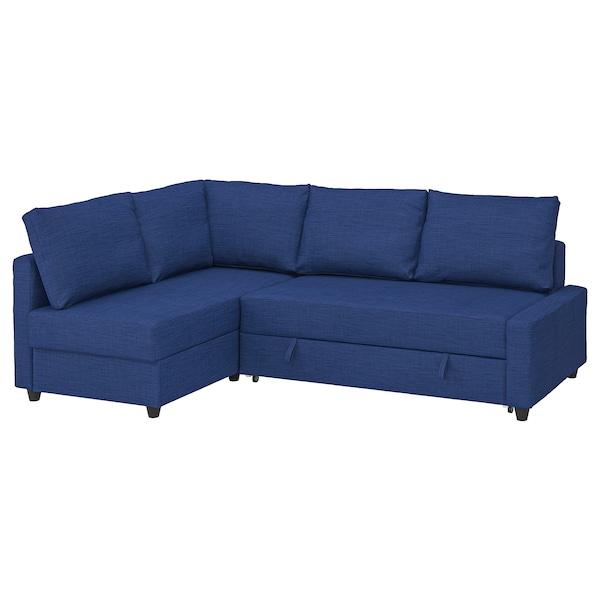 FRIHETEN Corner sofa-bed with storage, with extra back cushions/Skiftebo blue