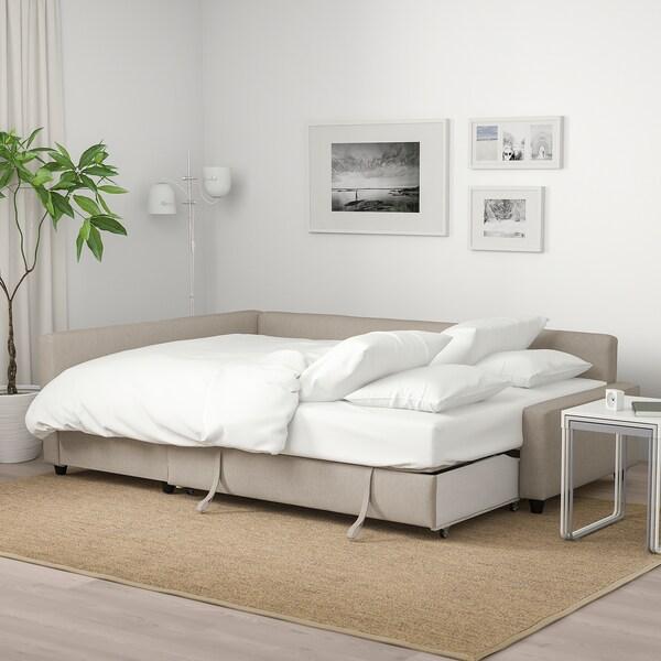 FRIHETEN corner sofa-bed with storage Hyllie beige 230 cm 151 cm 66 cm 140 cm 204 cm