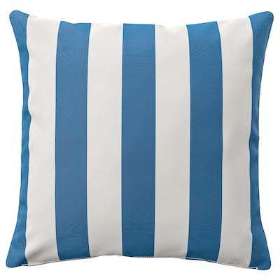 FUNKÖN Cushion cover, in/outdoor, blue/white, 50x50 cm