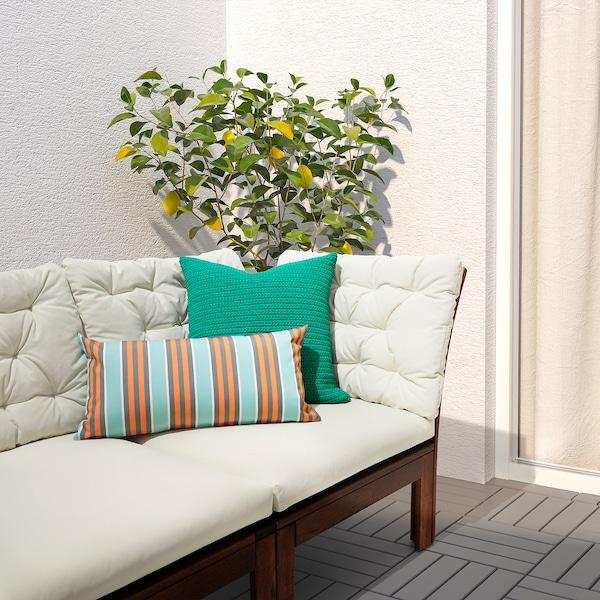 FUNKÖN cushion, in/outdoor orange/light blue 30 cm 58 cm 310 g 440 g