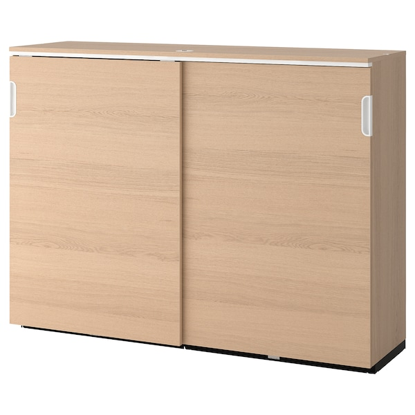 GALANT Cabinet with sliding doors, white stained oak veneer, 160x120 cm