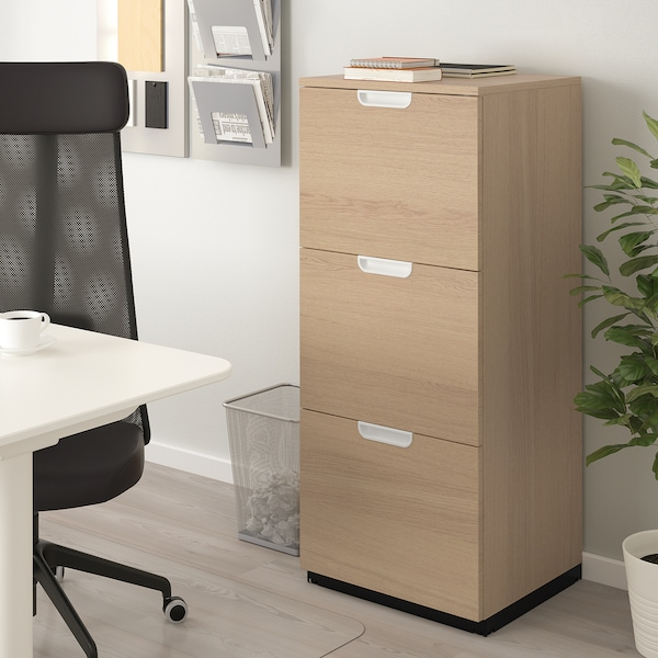 GALANT File cabinet, white stained oak veneer, 51x120 cm