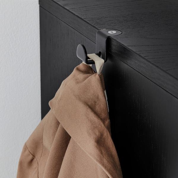 GALANT Storage combination w sliding doors, black stained ash veneer, 320x120 cm