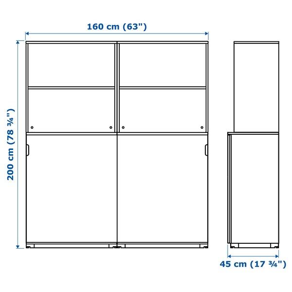 GALANT Storage combination w sliding doors, white stained oak veneer, 160x200 cm
