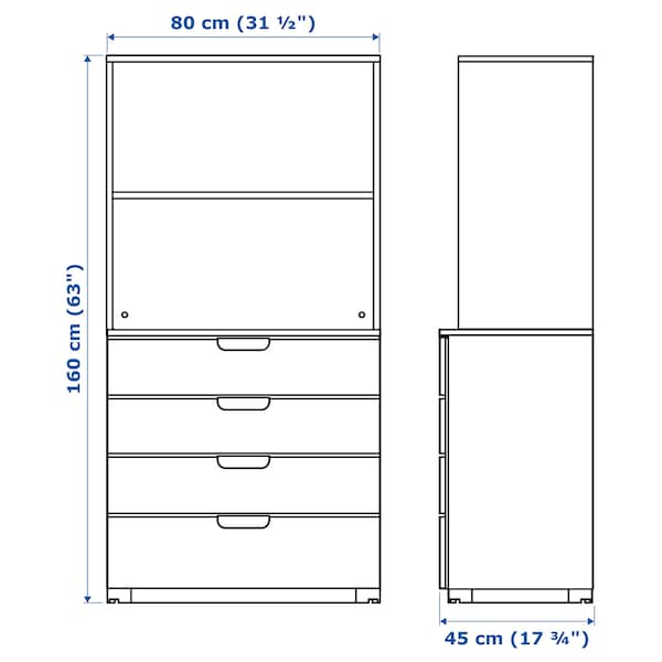 GALANT Storage combination with drawers, white stained oak veneer, 80x160 cm
