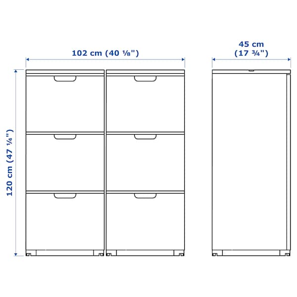 GALANT Storage combination with filing, white stained oak veneer, 102x120 cm