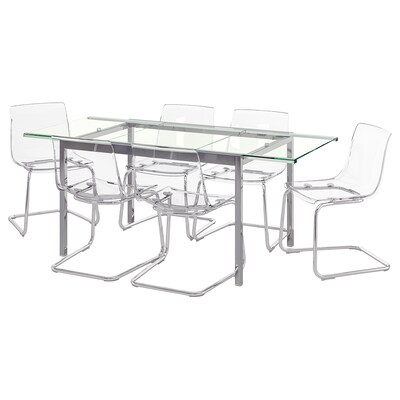 GLIVARP / TOBIAS Table and 6 chairs, transparent/transparent, 188 cm