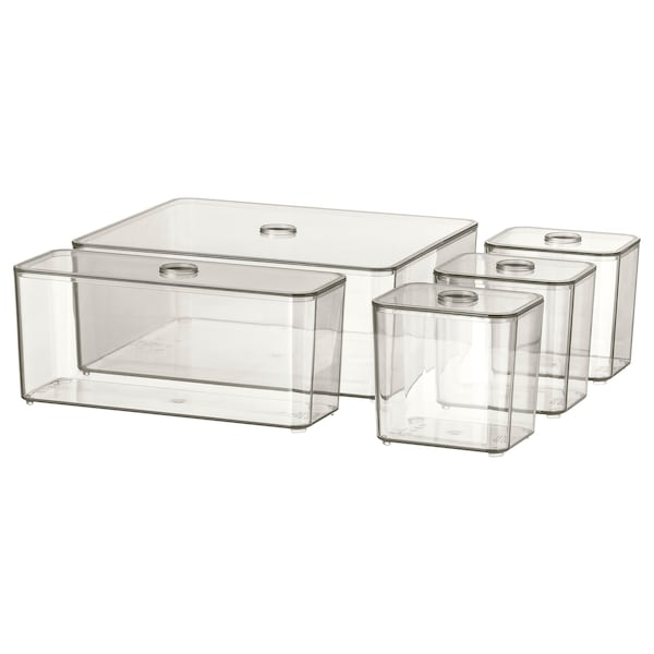 GODMORGON box with lid, set of 5 smoked 24 cm 20 cm 10 cm