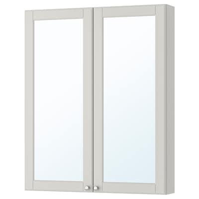 GODMORGON Mirror cabinet with 2 doors, Kasjön light grey, 80x14x96 cm
