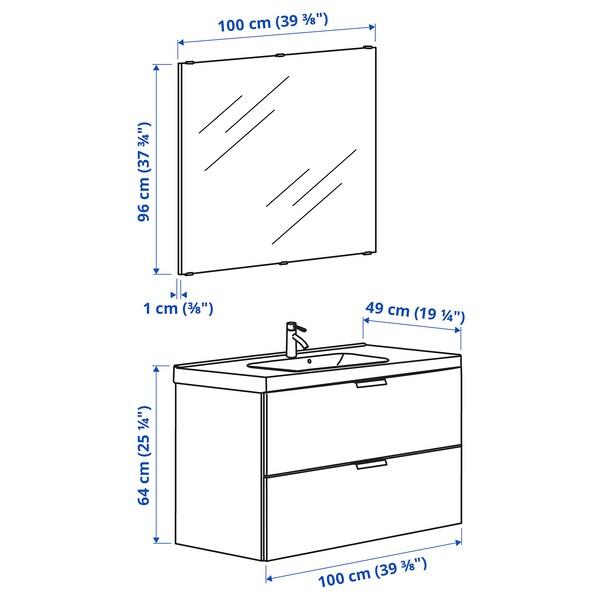 GODMORGON / ODENSVIK Bathroom furniture, set of 4, white/Dalskär tap, 103 cm