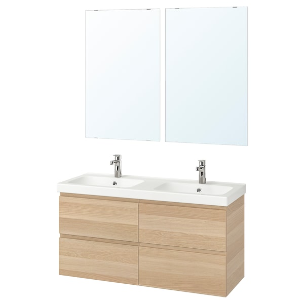 GODMORGON / ODENSVIK Bathroom furniture, set of 6, white stained oak effect/Brogrund tap, 123 cm