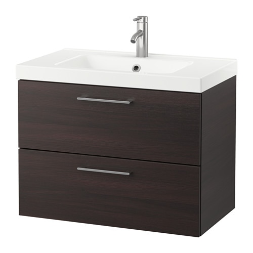 GODMORGON / ODENSVIK Wash-stand with 2 drawers - black-brown ...