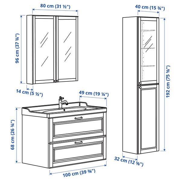GODMORGON / RÄTTVIKEN Bathroom furniture, set of 5, Kasjön light grey/Hamnskär tap, 102 cm