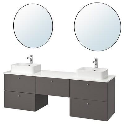 GODMORGON/TOLKEN / HÖRVIK bathroom furniture, set of 10 Gillburen dark grey/marble effect Brogrund tap 182 cm 180 cm 49 cm 72 cm