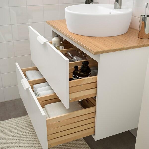 GODMORGON/TOLKEN / TÖRNVIKEN Bathroom furniture, set of 6, white/bamboo Dalskär tap, 82 cm