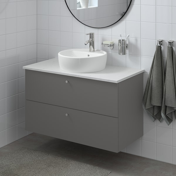 GODMORGON/TOLKEN / TÖRNVIKEN Wsh-stnd w countertop 45 wsh-basin, Gillburen dark grey/marble effect Dalskär tap, 102x49x74 cm
