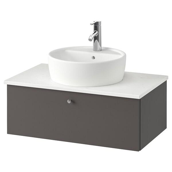 GODMORGON/TOLKEN / TÖRNVIKEN Wsh-stnd w countertop 45 wsh-basin, Gillburen dark grey/marble effect Dalskär tap, 82x49x45 cm