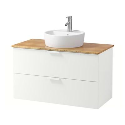GODMORGON/TOLKEN / TÖRNVIKEN Wsh-stnd w countertop 45 wsh-basin, white/bamboo Dalskär tap, 102x49x74 cm