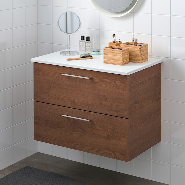 GODMORGON / TOLKEN wash-stand with 2 drawers brown stained ash effect/marble effect 102 cm 49 cm 60 cm