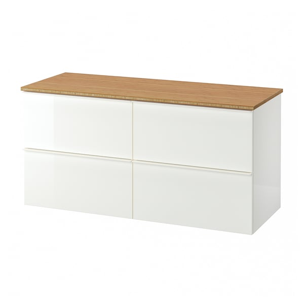 GODMORGON / TOLKEN wash-stand with 4 drawers high-gloss white/bamboo 122 cm 49 cm 60 cm