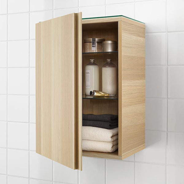 GODMORGON Wall cabinet with 1 door, white stained oak effect, 40x32x58 cm