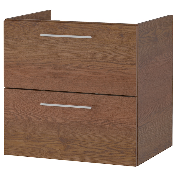 GODMORGON wash-stand with 2 drawers brown stained ash effect 60 cm 47 cm 58 cm
