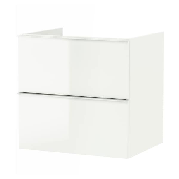 GODMORGON Wash-stand with 2 drawers, high-gloss white, 60x47x58 cm
