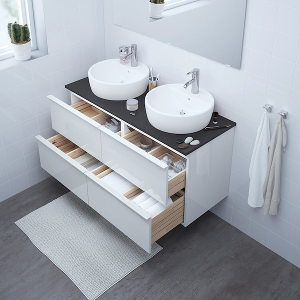 GODMORGON Wash-stand with 4 drawers, high-gloss white, 120x47x58 cm
