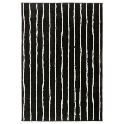 GÖRLÖSE Rug, low pile, black/white, 133x195 cm