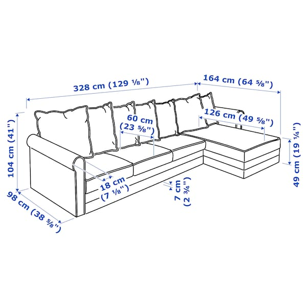 GRÖNLID 4-seat sofa with chaise longue, Sporda dark grey