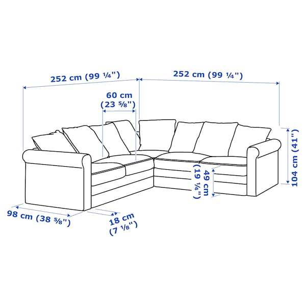GRÖNLID Corner sofa, 4-seat, Ljungen light red