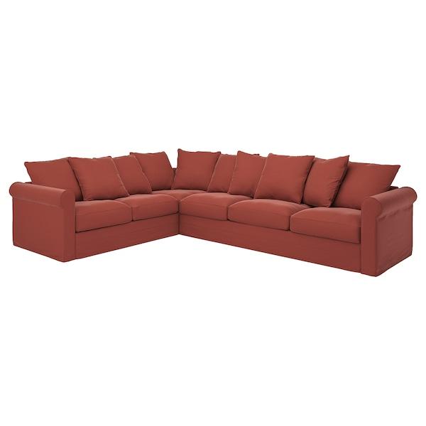 GRÖNLID Cover for corner sofa, 5-seat, Ljungen light red