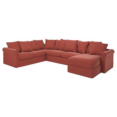 GRÖNLID Crnr sofa-bed, 5-seat w chaise lng, Ljungen light red