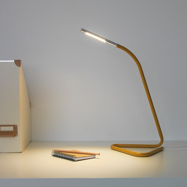 HÅRTE LED work lamp, yellow/silver-colour