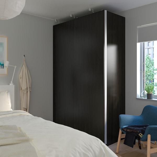 HASVIK Pair of sliding doors, black-brown stained ash effect, 200x236 cm
