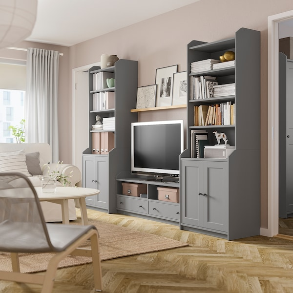 HAUGA TV/storage combination, grey, 277x46x199 cm