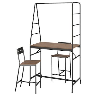 HÅVERUD / SANDSBERG Table and 2 stools, black/brown stained, 105 cm