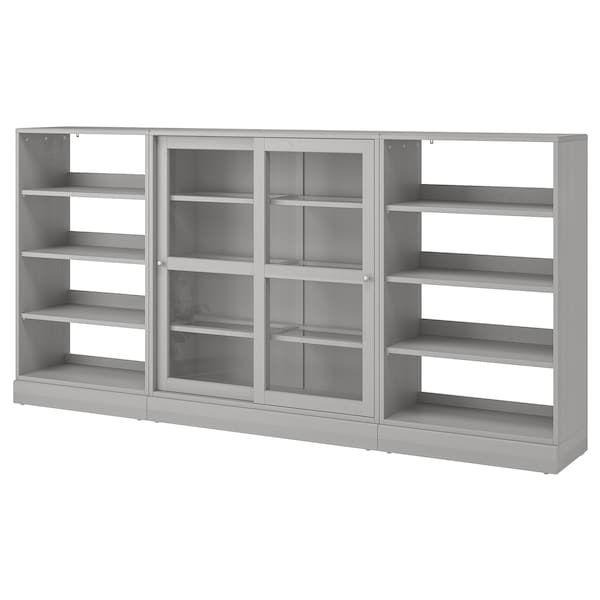 HAVSTA storage comb w sliding glass doors grey 283 cm 37 cm 134 cm 26 kg