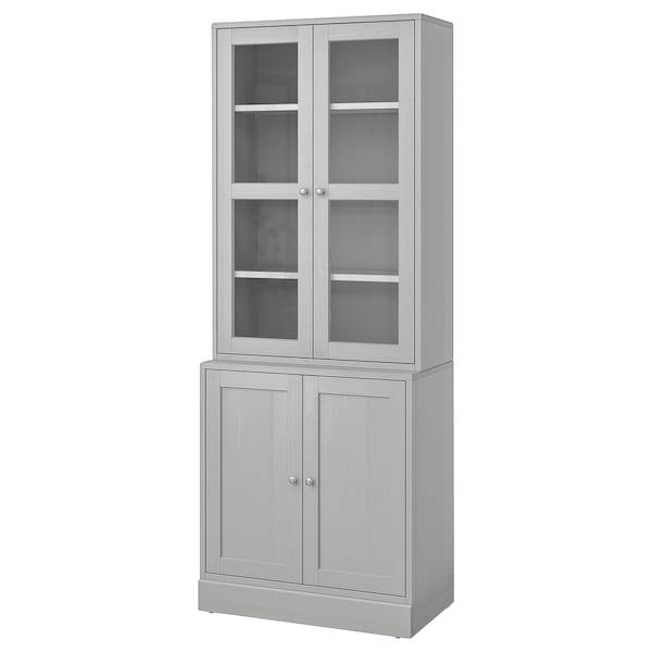 HAVSTA storage combination w glass-doors grey 81 cm 47 cm 212 cm 23 kg