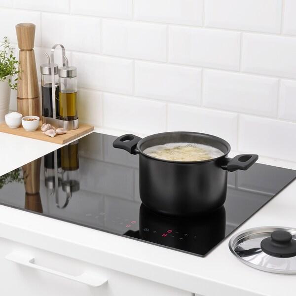 HEMLAGAD Pot with lid, black, 3 l