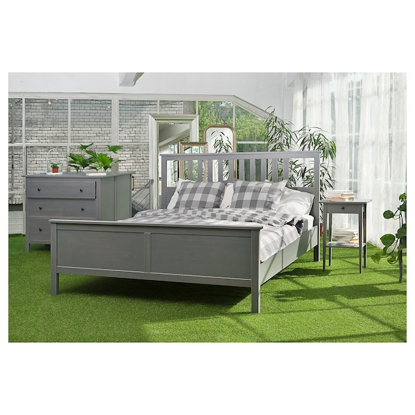 HEMNES Bed frame, grey stained, 160x200 cm