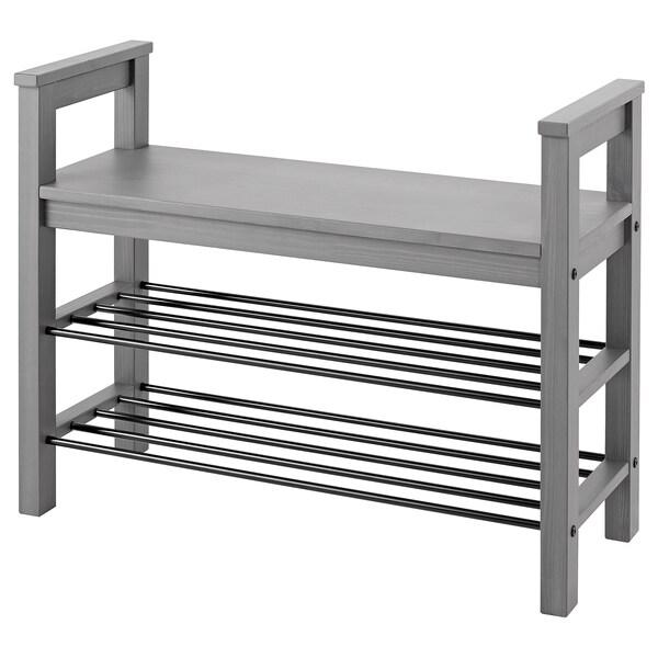 HEMNES Bench with shoe storage, grey stained, 85x32x65 cm