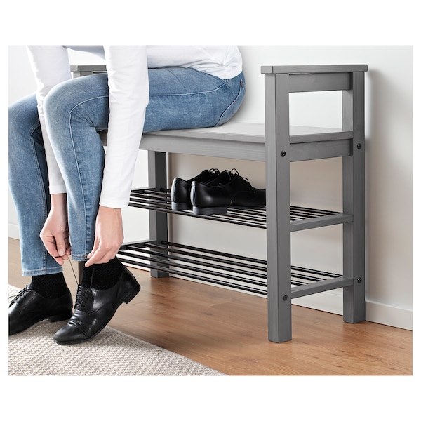 Hemnes Bench With Shoe Storage Grey Stained Ikea