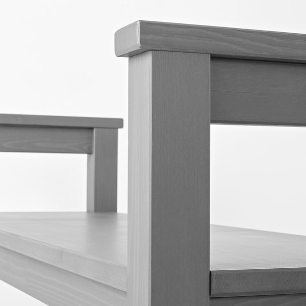 HEMNES Bench with shoe storage, grey stained, 85x32 cm