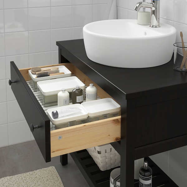 HEMNES open wash-stand with 1 drawer black-brown stain 82 cm 48 cm 76 cm