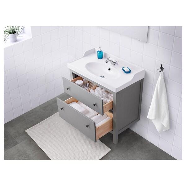 HEMNES / RÄTTVIKEN wash-stand with 2 drawers grey/Runskär tap 82 cm 80 cm 49 cm 89 cm