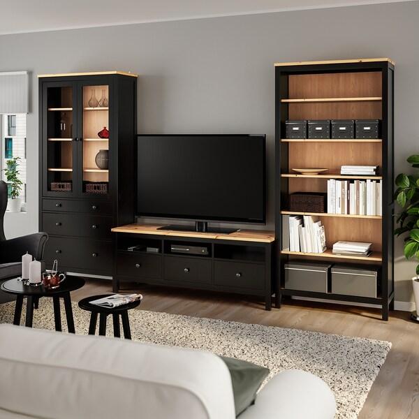 HEMNES TV storage combination black-brown/light brown clear glass 326 cm 197 cm 37 cm 47 cm