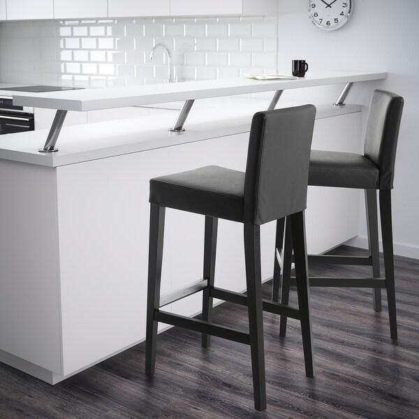 HENRIKSDAL bar stool with backrest brown-black/Glose black 110 kg 40 cm 51 cm 104 cm 40 cm 38 cm 74 cm