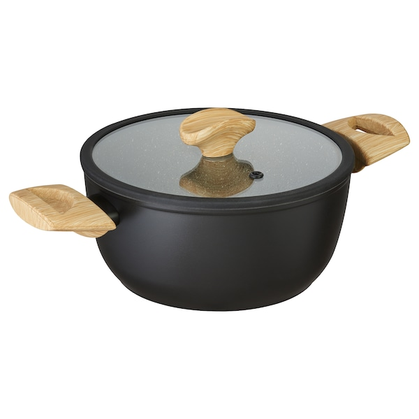 HUSKNUT Pot with lid, black, 3 l