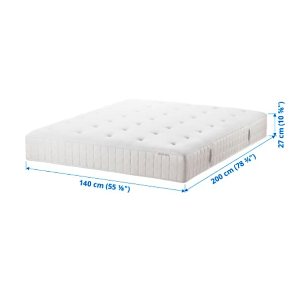 HYLLESTAD Pocket sprung mattress, firm/white, 140x200 cm